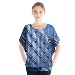 Abstract Architecture Azure Batwing Chiffon Blouse by Pakrebo
