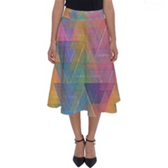 Triangle Pattern Mosaic Shape Perfect Length Midi Skirt