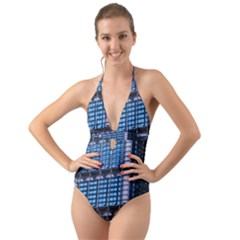 Abstract Architecture Background Halter Cut Out One Piece Swimsuit
