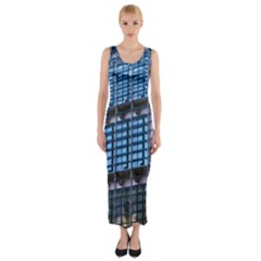 Abstract Architecture Background Fitted Maxi Dress
