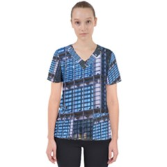 Abstract Architecture Background Women s V Neck Scrub Top