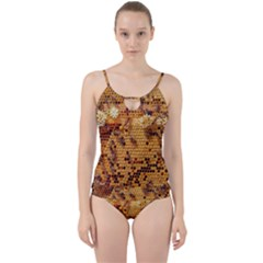 Bees Nature Animals Honeycomb Cut Out Top Tankini Set by Pakrebo