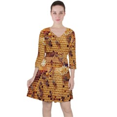 Bees Nature Animals Honeycomb Ruffle Dress
