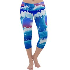 Japanese Wave Japanese Ocean Waves Capri Yoga Leggings by Pakrebo