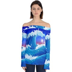 Japanese Wave Japanese Ocean Waves Off Shoulder Long Sleeve Top by Pakrebo