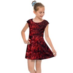 Red Abstract Fractal Background Kids  Cap Sleeve Dress