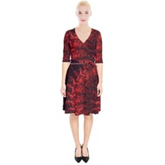 Red Abstract Fractal Background Wrap Up Cocktail Dress