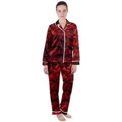 Red Abstract Fractal Background Satin Long Sleeve Pyjamas Set