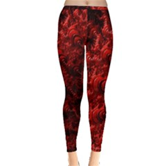 Red Abstract Fractal Background Inside Out Leggings