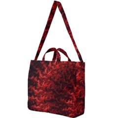 Red Abstract Fractal Background Square Shoulder Tote Bag by Pakrebo