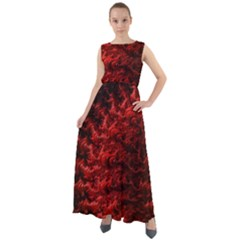 Red Abstract Fractal Background Chiffon Mesh Maxi Dress