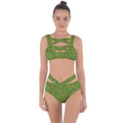 Background Abstract Green Seamless Bandaged Up Bikini Set