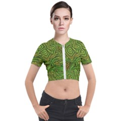 Background Abstract Green Seamless Short Sleeve Cropped Jacket by Pakrebo