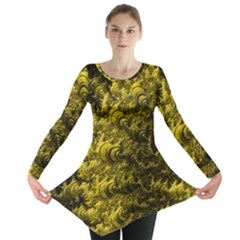 Rich Yellow Digital Abstract Long Sleeve Tunic