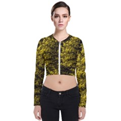 Rich Yellow Digital Abstract Long Sleeve Zip Up Bomber Jacket by Pakrebo