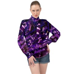 Light Violet Purple Technology High Neck Long Sleeve Chiffon Top
