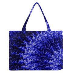 Rich Blue Digital Abstract Zipper Medium Tote Bag