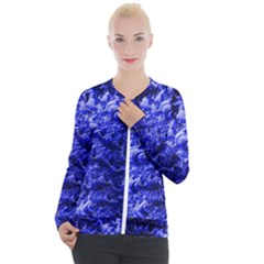 Rich Blue Digital Abstract Casual Zip Up Jacket