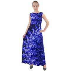 Rich Blue Digital Abstract Chiffon Mesh Maxi Dress