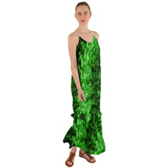 Green Abstract Fractal Background Cami Maxi Ruffle Chiffon Dress