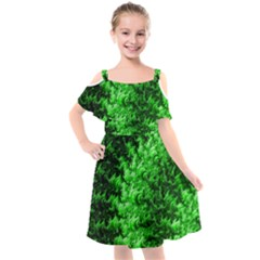 Green Abstract Fractal Background Kids  Cut Out Shoulders Chiffon Dress by Pakrebo