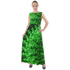 Green Abstract Fractal Background Chiffon Mesh Maxi Dress