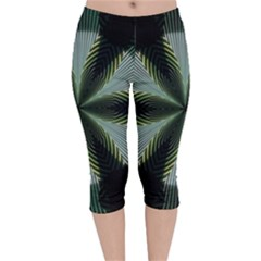 Lines Abstract Background Velvet Capri Leggings