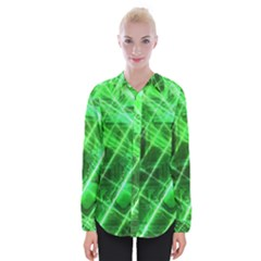 Futuristic Background Laser Green Womens Long Sleeve Shirt