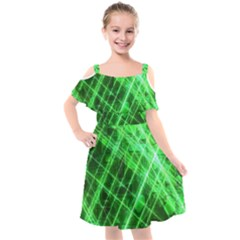 Futuristic Background Laser Green Kids  Cut Out Shoulders Chiffon Dress