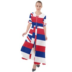Flag Of Hawaii Waist Tie Boho Maxi Dress