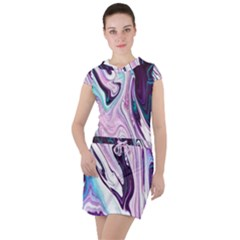 Color Acrylic Paint Art Painting Drawstring Hooded Dress