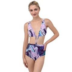 Color Acrylic Paint Art Painting Tied Up Two Piece Swimsuit