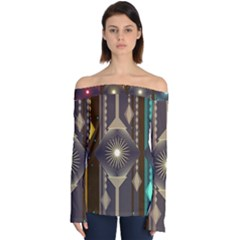 Background Colors Abstract Off Shoulder Long Sleeve Top