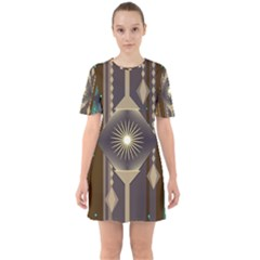 Background Colors Abstract Sixties Short Sleeve Mini Dress