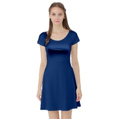 Blue Bunker Hill Flag Short Sleeve Skater Dress by abbeyz71