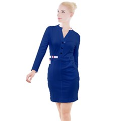 Blue Bunker Hill Flag Button Long Sleeve Dress by abbeyz71