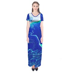Paint Acrylic Paint Art Painting Blue Short Sleeve Maxi Dress