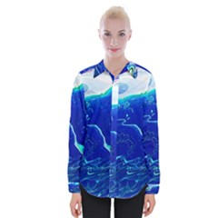 Paint Acrylic Paint Art Painting Blue Womens Long Sleeve Shirt