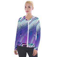Color Acrylic Paint Art Painting Velour Zip Up Jacket by Pakrebo