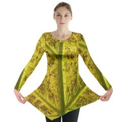 Leaf Structure Texture Background Long Sleeve Tunic