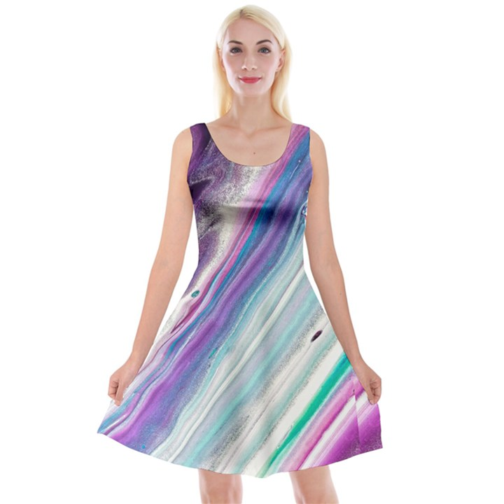 Color Acrylic Paint Art Painting Reversible Velvet Sleeveless Dress