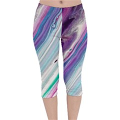 Color Acrylic Paint Art Painting Velvet Capri Leggings