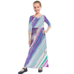 Color Acrylic Paint Art Painting Kids  Quarter Sleeve Maxi Dress by Pakrebo