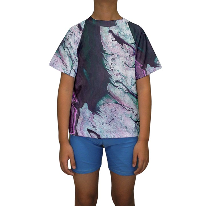 Color Acrylic Paint Art Painting Kids  Short Sleeve Swimwear
