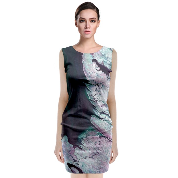 Color Acrylic Paint Art Painting Sleeveless Velvet Midi Dress