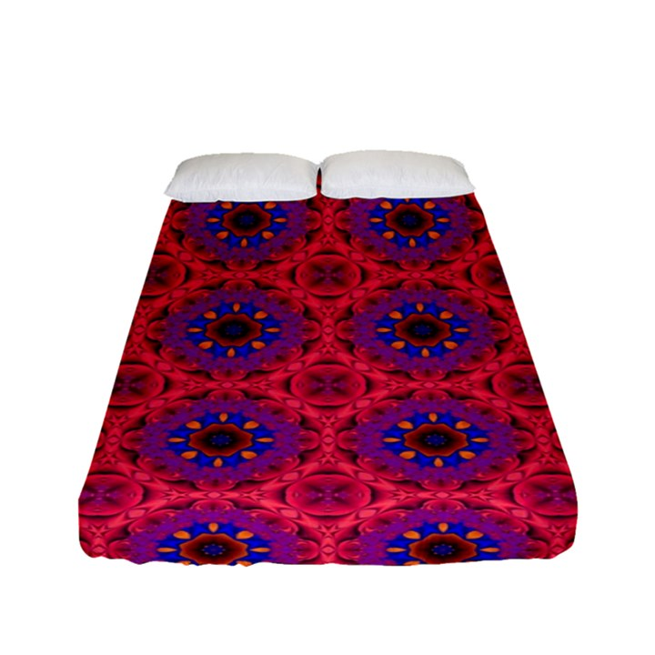 Retro Abstract Boho Unique Fitted Sheet (Full/ Double Size)