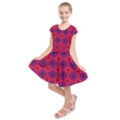 Retro Abstract Boho Unique Kids  Short Sleeve Dress