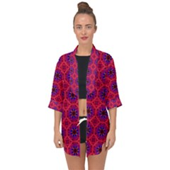 Retro Abstract Boho Unique Open Front Chiffon Kimono