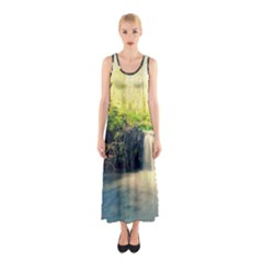 Waterfall River Nature Forest Sleeveless Maxi Dress