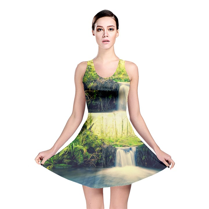 Waterfall River Nature Forest Reversible Skater Dress